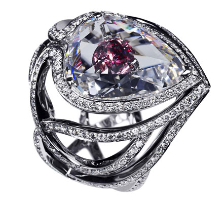 Secret Kiss Pink diamond engagement ring