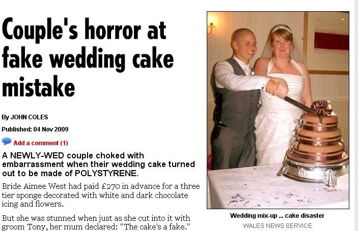 Fake Wedding Cake Ruined Couples Wedding