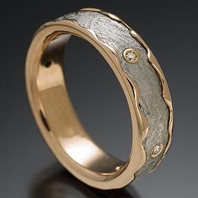 chris ploof meteorite ring with 18k red gold rolled edge - Meteorite Wedding Ring