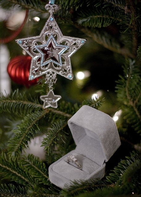 engagement ring in christmas tree proposal ornamenent