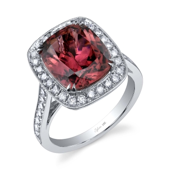Sylvie collection engagement ring red