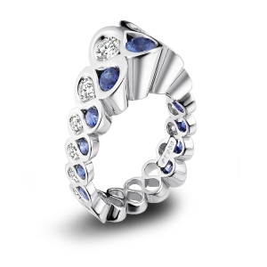 erik stewart platinum diamond and sapphire one of a kind ring 16500 - One Of A Kind Wedding Rings
