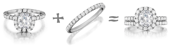 Wedding Band And Engagement Ring How To Wear three stone wedding