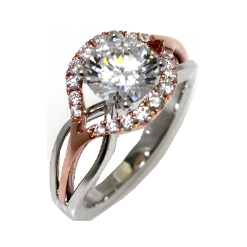Can\'t decide between white gold and rose gold? Check out this Frederic Sage engagement  ring collection! From halo to swirly designs with intricate organic ...