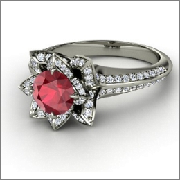 this lotus shaped engagement ring features a beautiful red - Red Wedding Rings