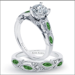 kirk kara this vintage inspired engagement ring - Green Wedding Rings