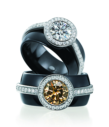 behavior makes it the perfect choice for an alternative engagement ring or wedding band we love the colored diamonds enhanced by the black ceramic - Ceramic Wedding Rings