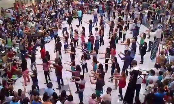 Men On Stilts Balloons Huge Flashmob Awesome Proposal