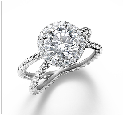 designed round diamond solitaire contour ring cut engagement cable rings