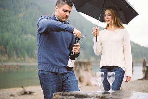 A Rainy Engagement Session by the Lake near Seattle... with Wine!
