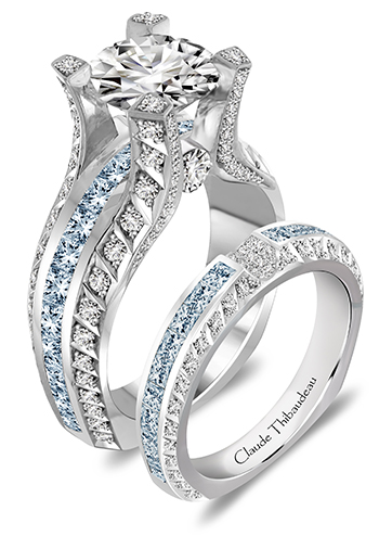 other options include blue enhanced diamonds set in a channel line in the center of the engagement ring setting or as a matching wedding band or anniversary - Blue Diamond Wedding Rings