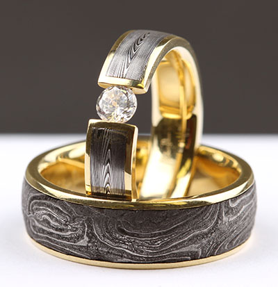 Chris ploog gun barrels damascus engagement wedding ring