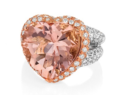 Makur engagement ring morganite heart