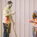Fun Fall Paint Fight Engagement Session