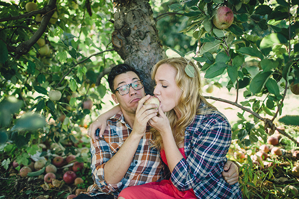 Romantic Apple Picking Engagement Session