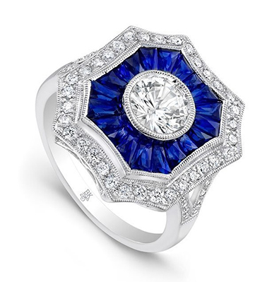Bold Vintage Inspired Sapphire Engagement Rings by Beverley K