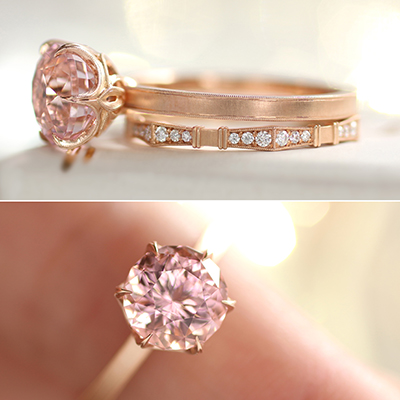 Pink Is The Most Color And This Tourmaline Engagement Ring Set In Rose Gold Just Darling We Love Modernized Deco Details On Setting