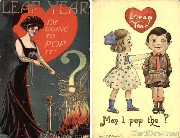 leap year vintage post card proposal engagement leap year postcards