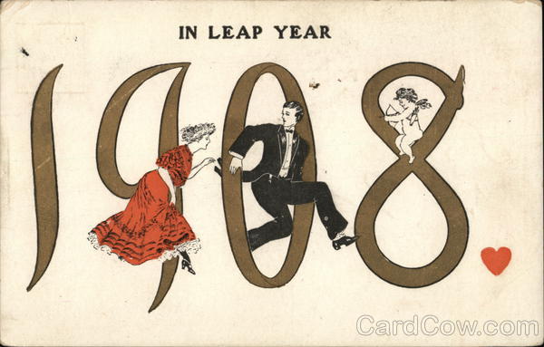 leap year vintage post card proposal leap year postcards