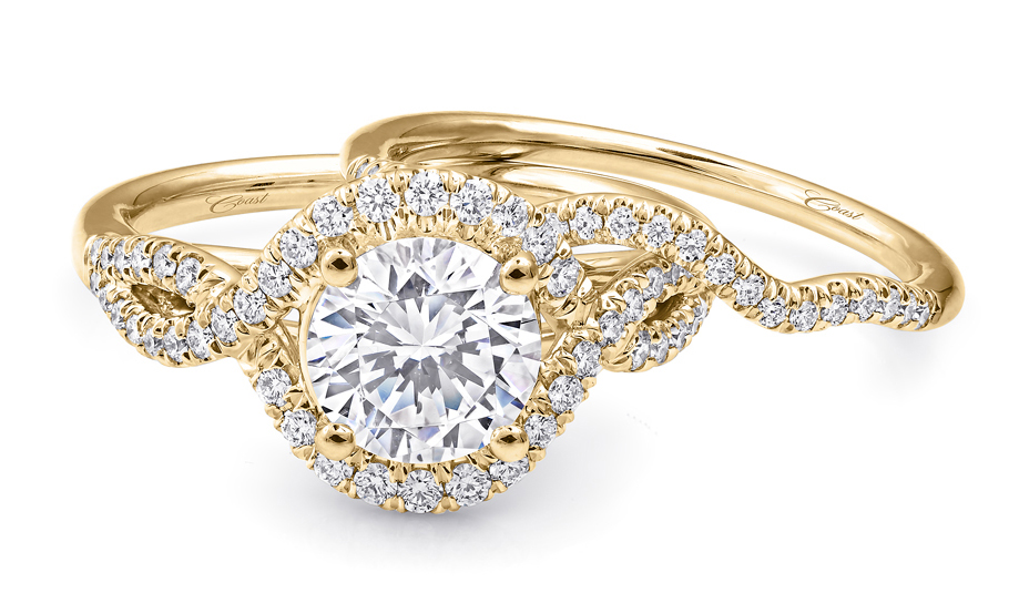 coast diamond rose and yellow gold engagement rings