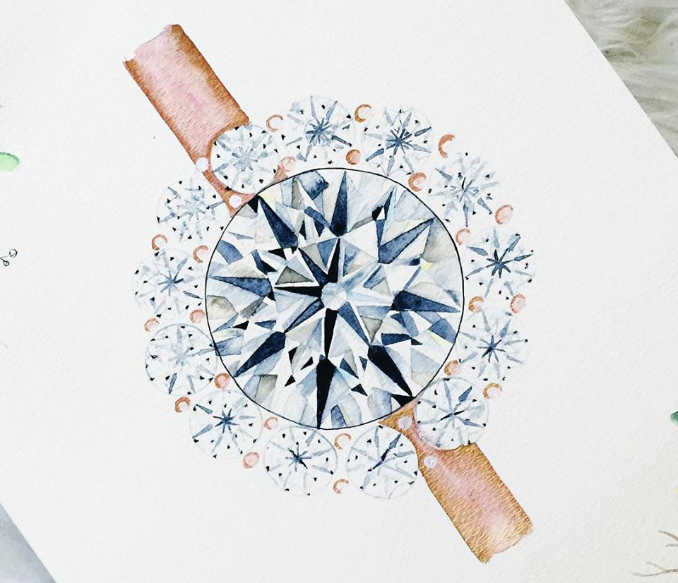 Get A Custom Watercolor Painting Of Your Engagement Ring