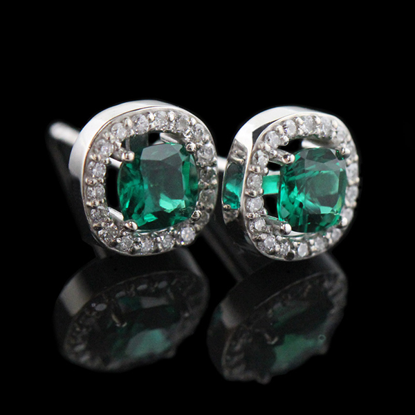 Diamond Halo Emerald Earrings 600