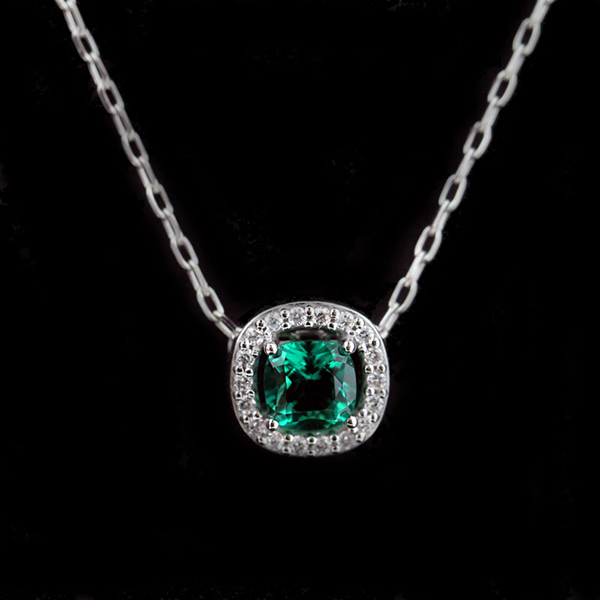 Diamond Halo Emerald Pendant 600