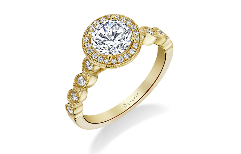 engagement ring sylvie collection yellow gold