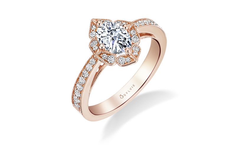 sylvie collection engagement ring rose gold 2017
