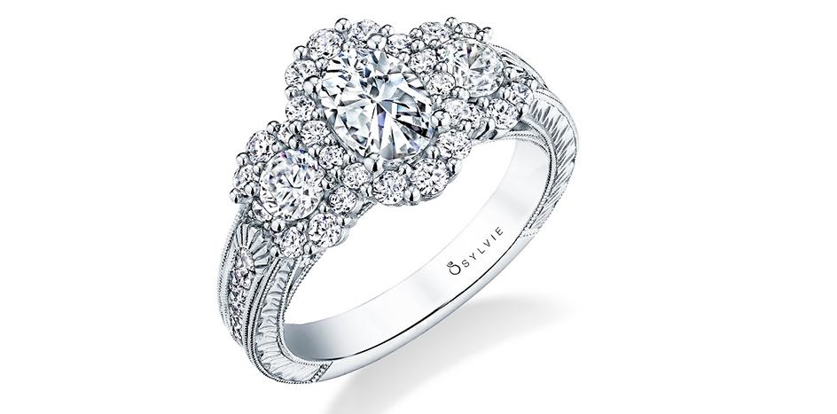 oval three stone engagement ring sylvie
