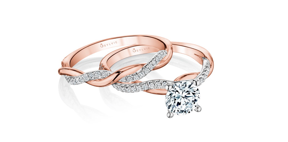 wedding set rose gold engagement ring sylvie