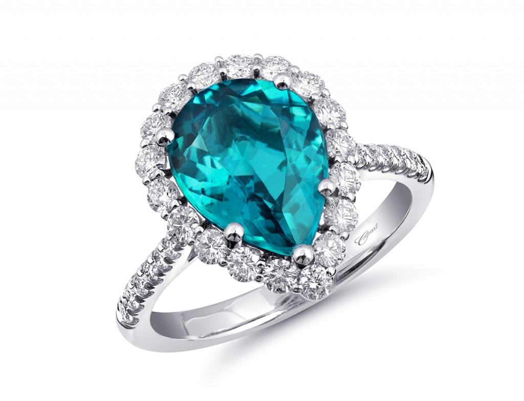 Coast engagement ring inocolite pear shaped