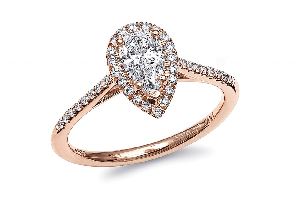 coast pear shaped rose gold engagement ring