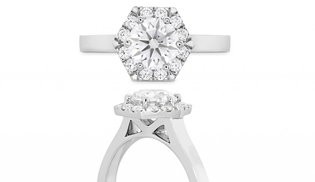HOF Hexagonal DER-C hearts of fire engagement ring