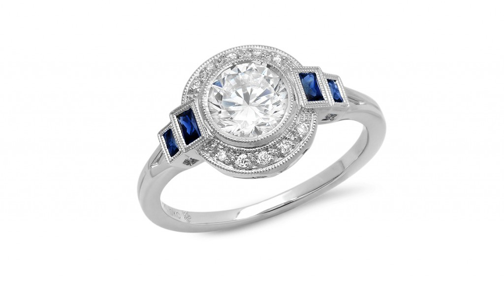 deco engagement ring beverly k