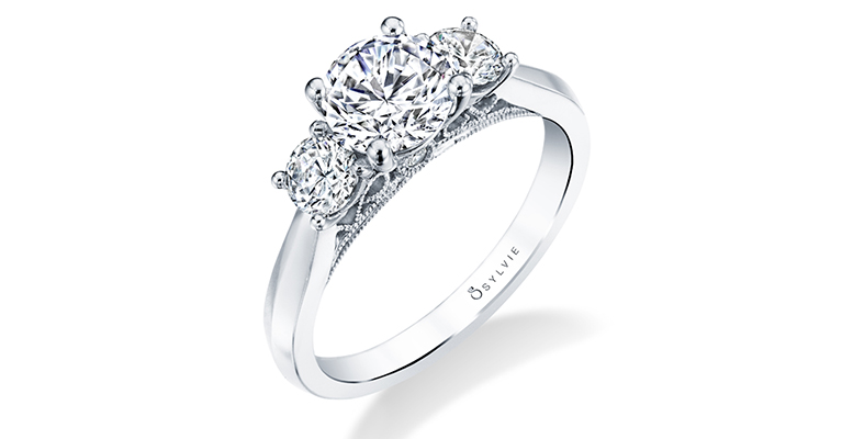 three stone engagement ring sylvie collection