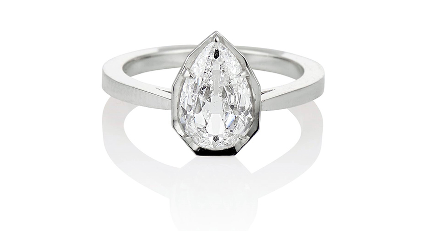 Jewels By Grace 1.27ct Antique Pear Diamond Ring engagement ring