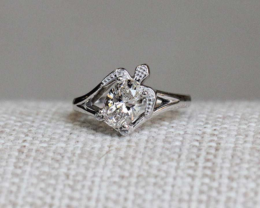 Custom Turtle Engagement Ring