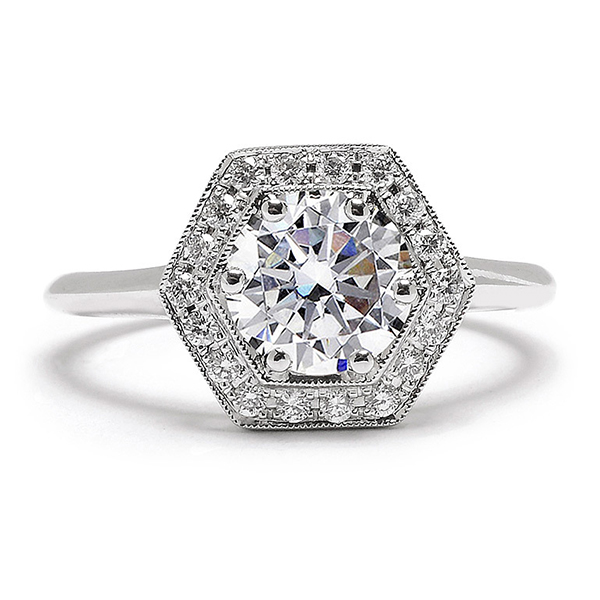 1 beverly k hectagonale engagement ring