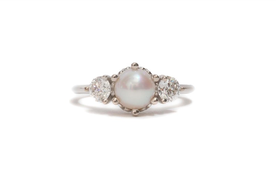 Pearl Hazeline Three Stone Ring