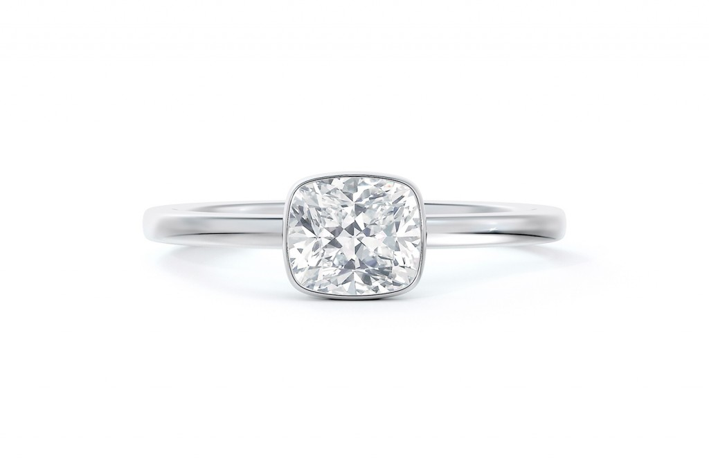 Micaela's Hidden Halo Cushion Bezel Set Engagement Ring 2