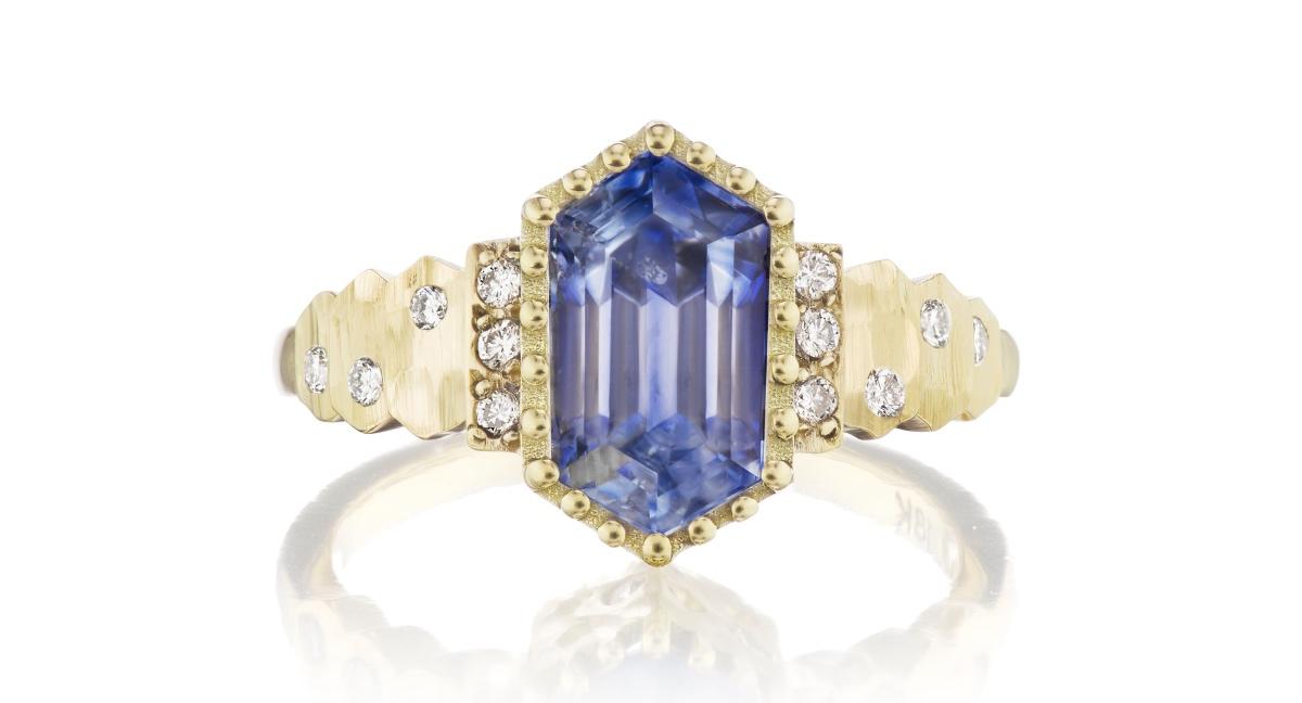 Light Blue Long Hex Sapphire Steps Ring- Top View